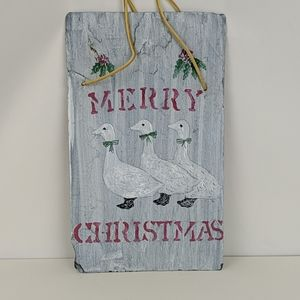 Vtg Hand Painted Slate Goose Geese Christmas Sign
